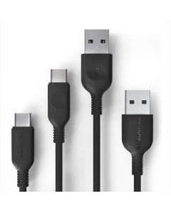 RAVPower 2 x USB-A til USB-C 2.0 kabel (0,9m + 1,8m), Sort