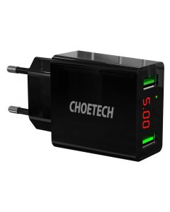 Choetech 15W 2-port LED Vægoplader, Sort