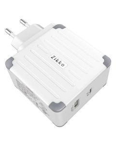 Zikko USB-C PD + QC 57W Vægoplader og rejseadapter. Hvid