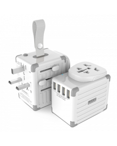 Zikko Worldwide Travel Smart Adapter 4 USB Port, Hvid