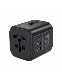 Aukey universal travel adapter with one USB-C and two USB-A port