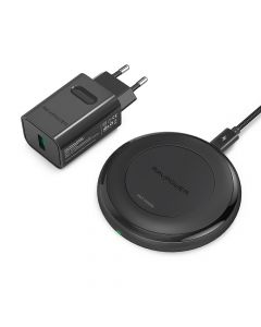 RAVPower Wireless 10W Qi Charger incl. Quick Charge 3.0 wall charger, Black