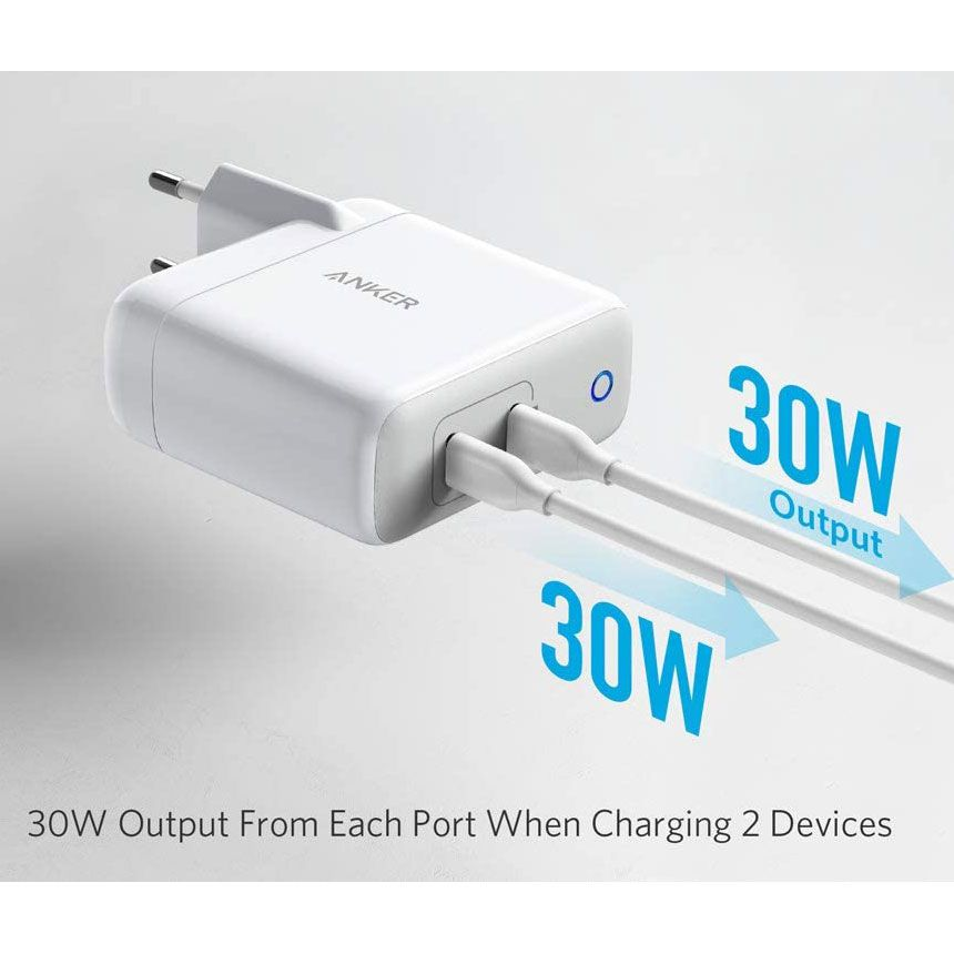 Anker PowerPort Atom PD 2 60W USB C PD wall charger, White