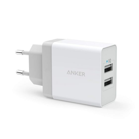 Anker PowerPort 2 USB Charger and Micro USB cable, 24W & 4.8A, White