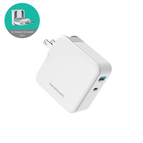 RAVPower 2-port 45W USB-C PD og QC 3.0 USB-A wall charger, White