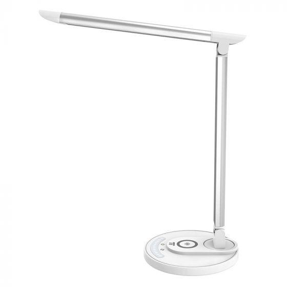 TaoTronics LED Skrivebordslampe med 35 modes, USB Output og Trådløs Opladning, Sølv